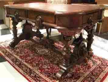 Antique Renaissance Revival Style Partners Desk