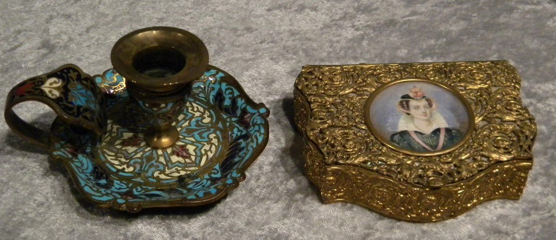 English Enameled Chamber Stick & Gilded Dresser Box