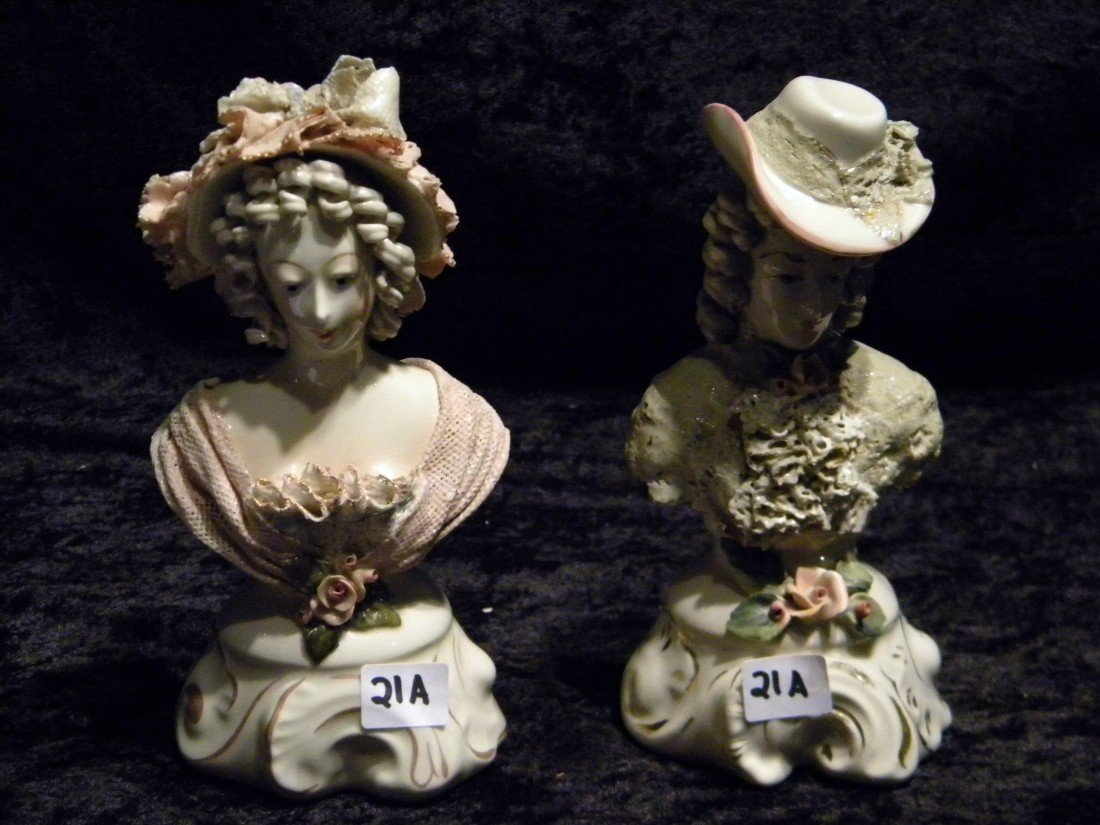 2 Cordey Glazed Ceramic Busts