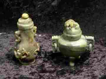 2 Chinese Jade Vases/Urns, Dbl Handled w/Dragons Lidded