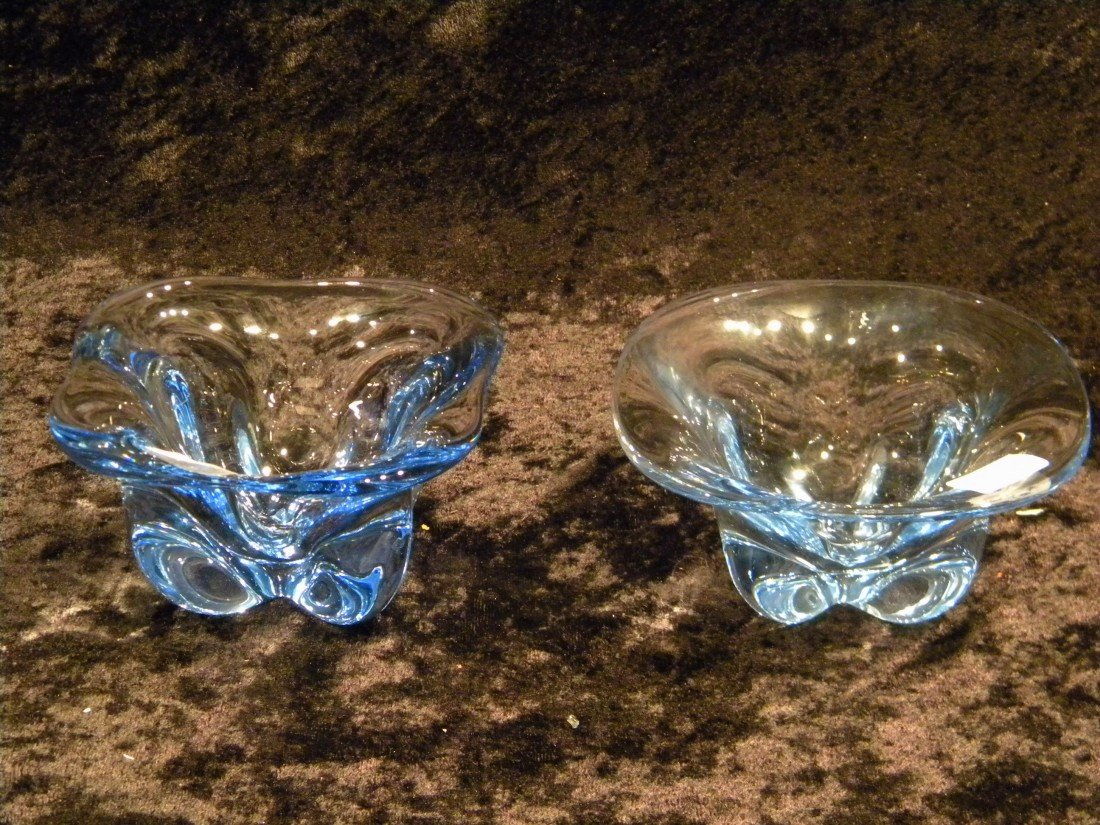 2 Small Pale Blue Glass Pedestal Dishes
