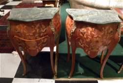 Pr Louis XV Style Bombe Marble Top Commodes w/Bronze