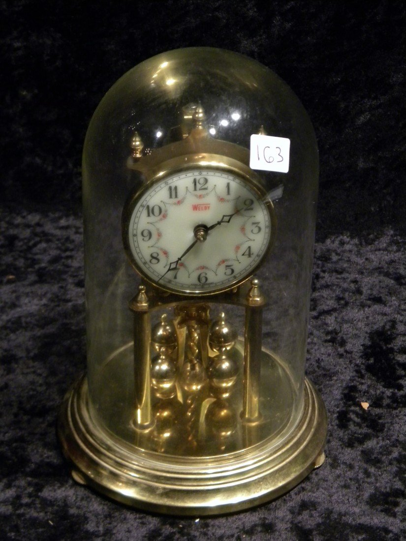 Brass Welby Anniversary Clock under Clear Glass Dome