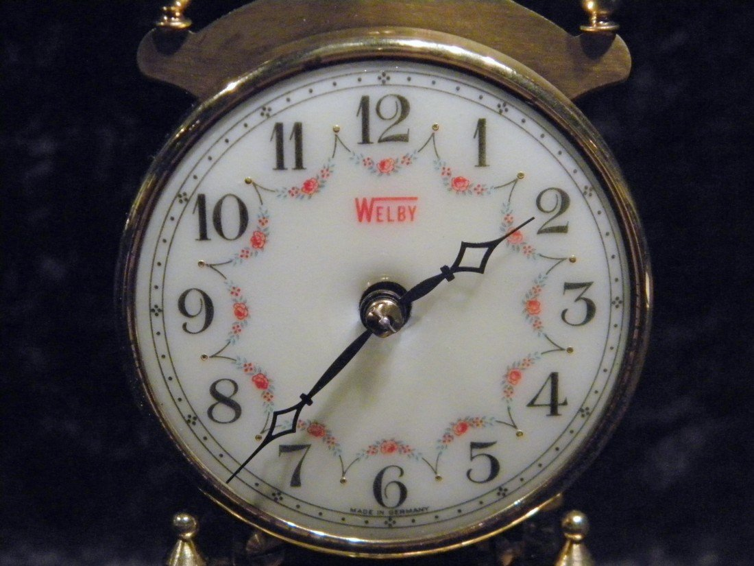 Brass Welby Anniversary Clock under Clear Glass Dome - 2