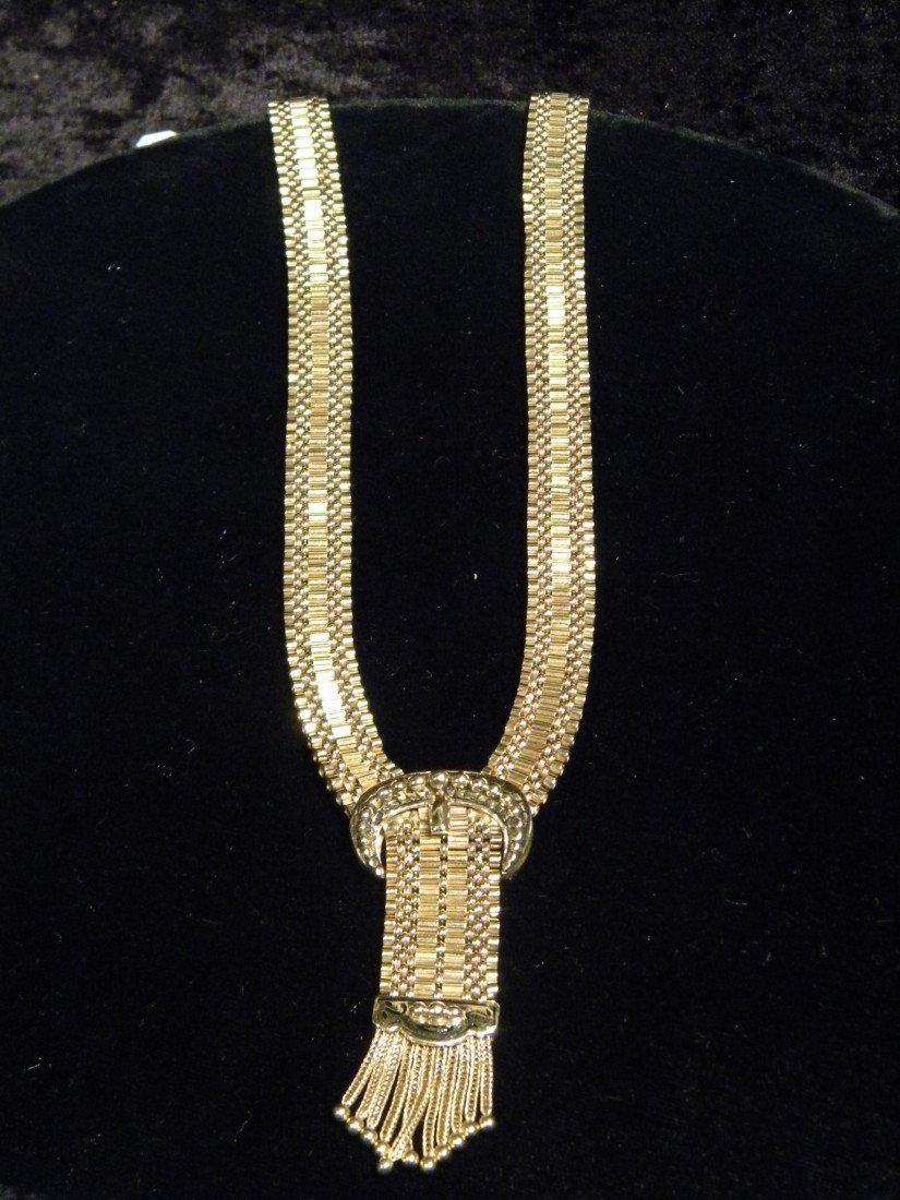 14Kt. Gold Flat Woven Necklace w/Buckle & Tassel 39.47g