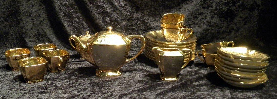 27 pc Arzberg Bavaria All-Over Gold Porcelain Teaset