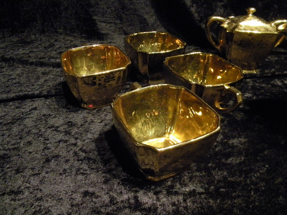 27 pc Arzberg Bavaria All-Over Gold Porcelain Teaset - 2