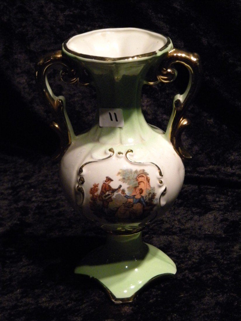 2-Handled Porcelain Vase dec/w Portrait Panel