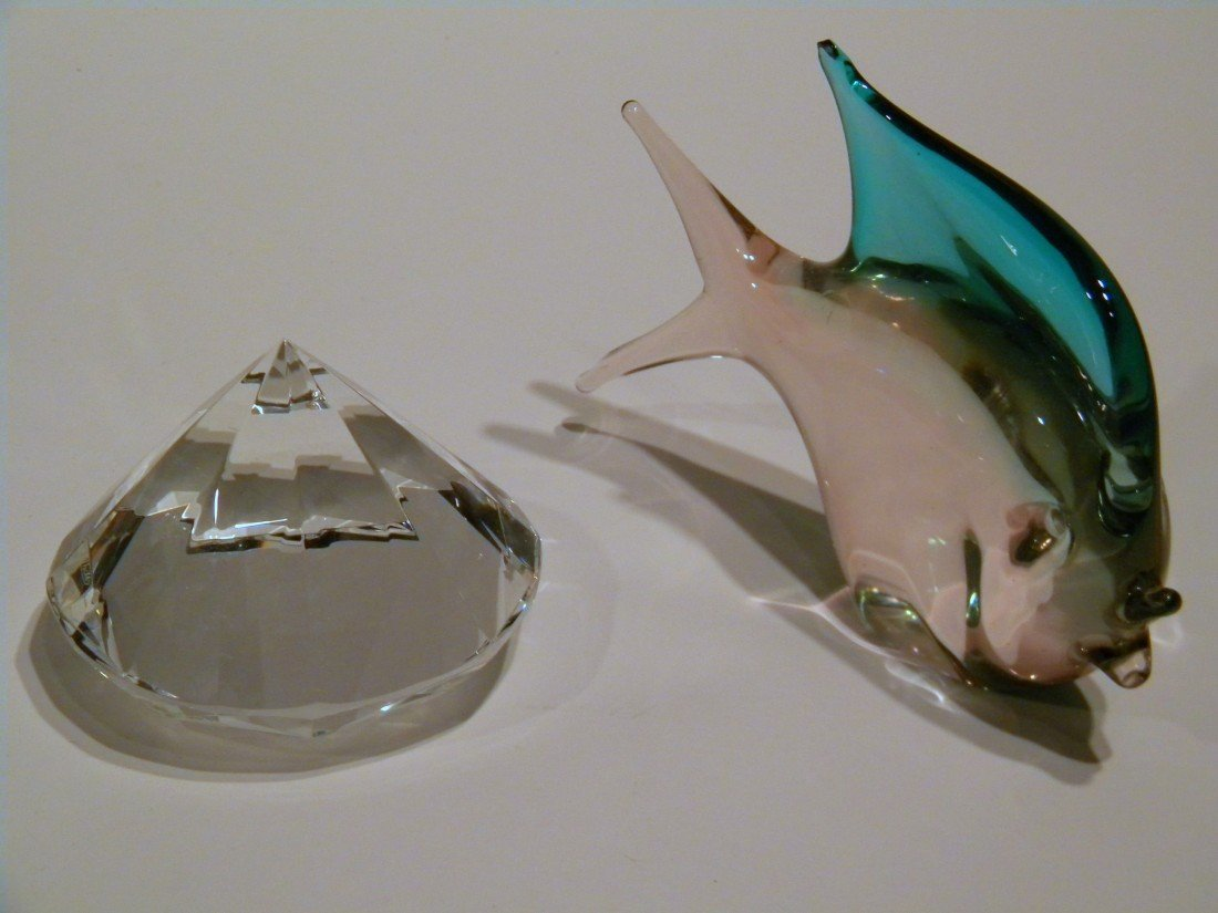 Murano Fish & Rosenthal Glass Diamond Paperweight