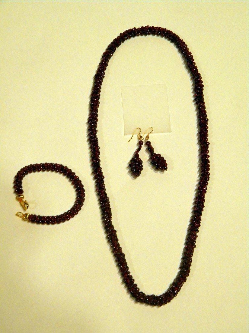 3 Pcs Garnet Jewelry: Necklace, Bracelet, Earrings