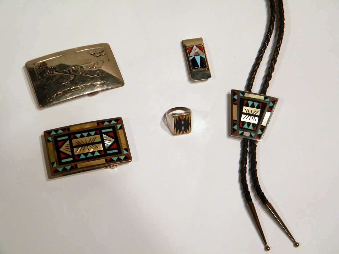 4 Pc Men's Native American Jewelry w/Sterling