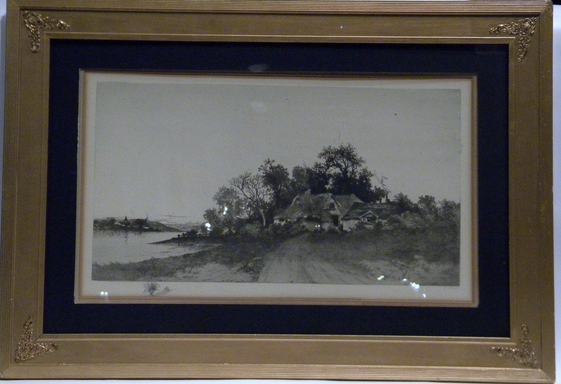 Framed Etching signed E. Rust