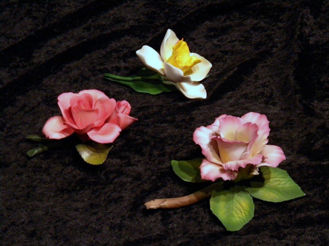 3 Porcelain Flower Groups: Capodimonte, Crown N Napoleo