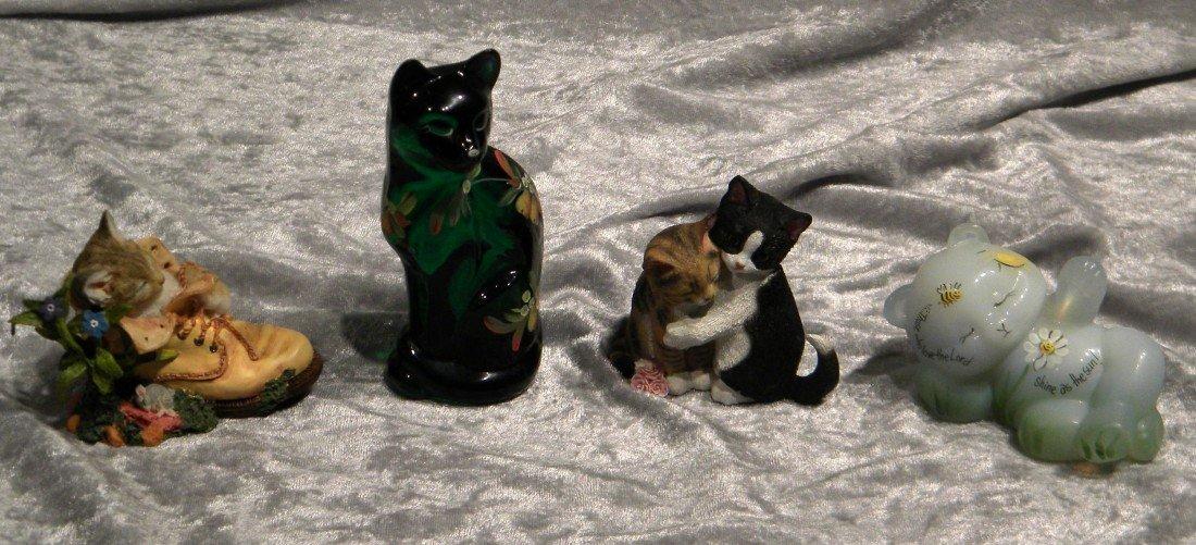 4 Cat Figurines incl. 2 Lenox & 2 Fenton