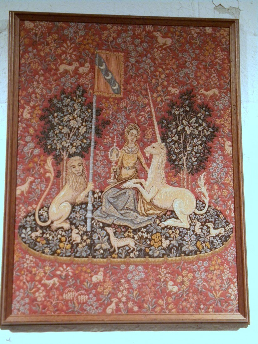 "Wood Framed Tapestry ""The Lady and the Unicorn"""