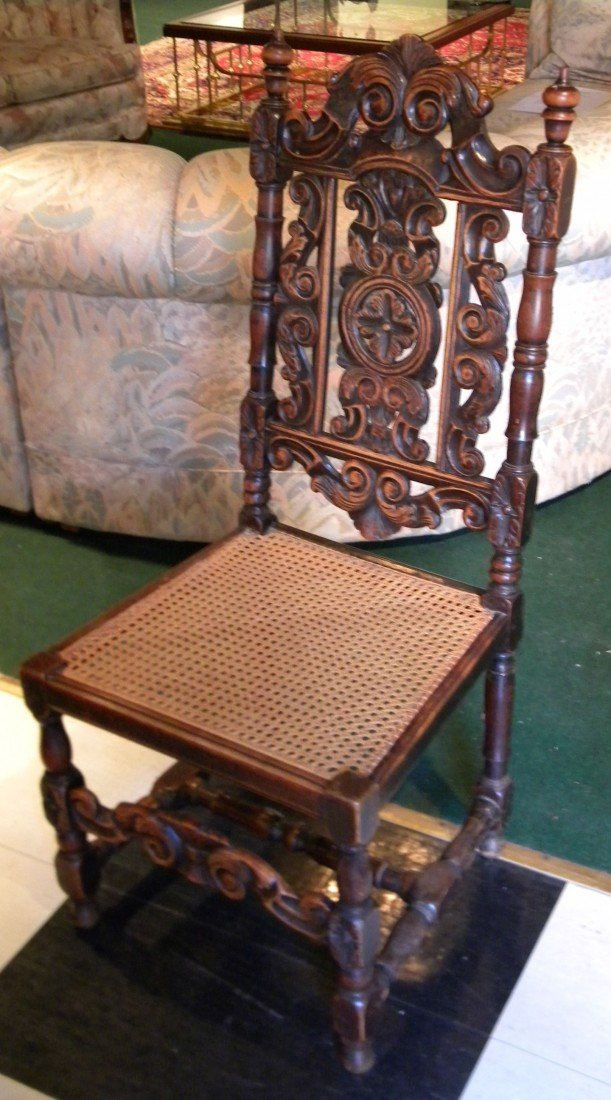 Heavily Carved High Back Caned Side Chair
