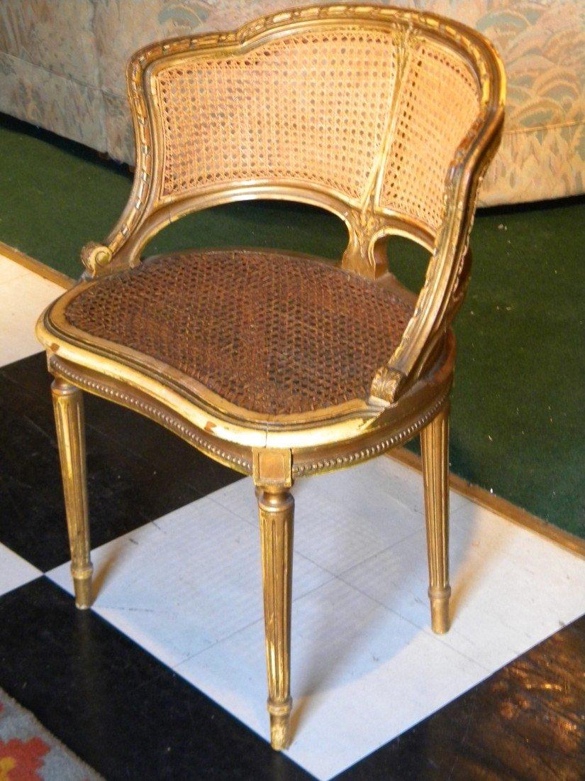 3/4 Gilded Wood Framed Caned Back and Seat Arm Chair