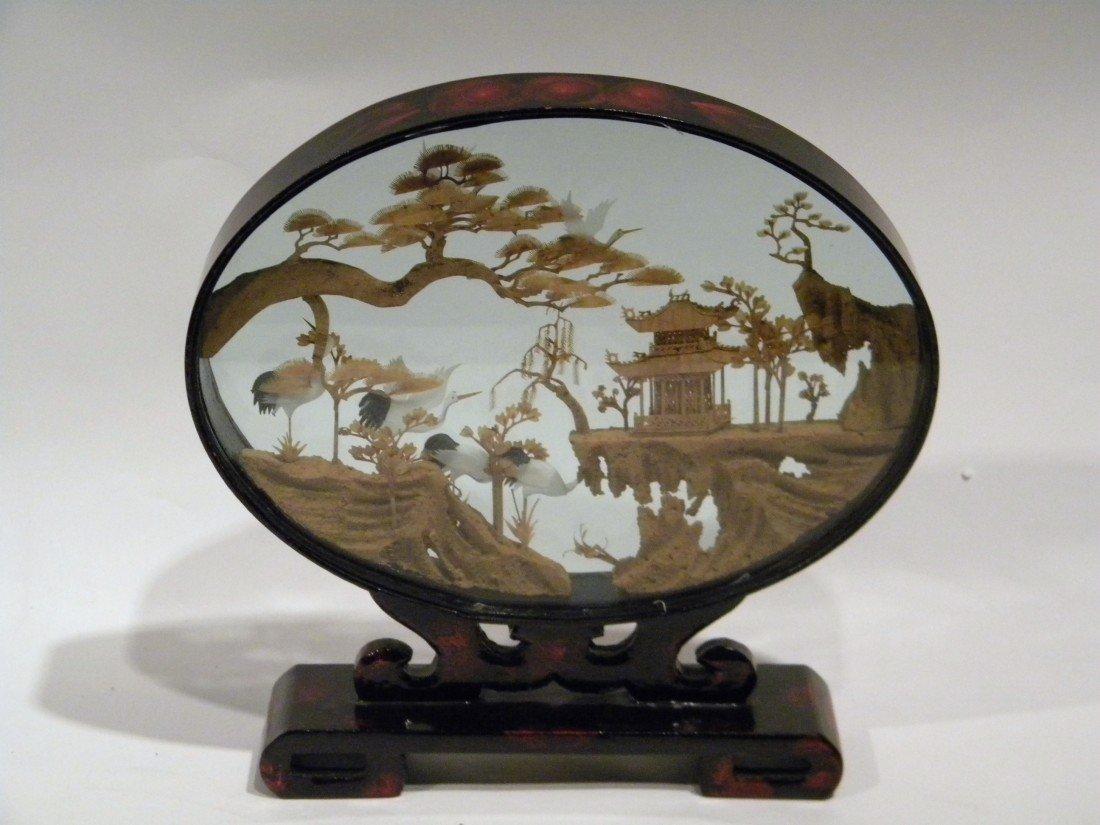 Cased Oriental Cork Carving w Pagodas & Cranes