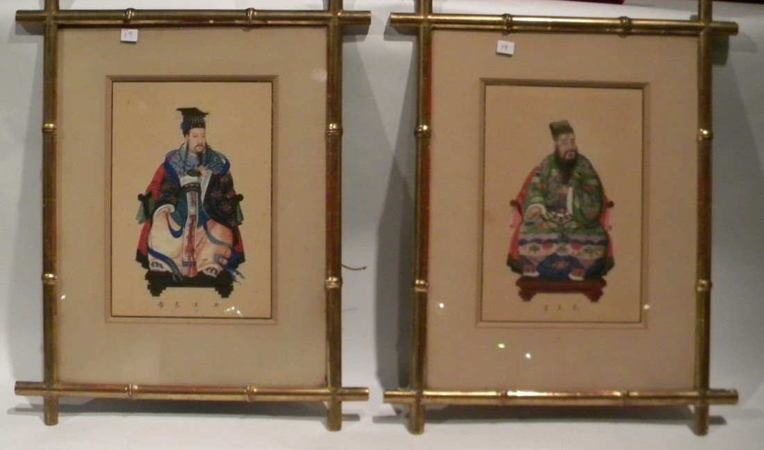 Pr Prints of Bearded Asian Men, Bamboo Style Frms