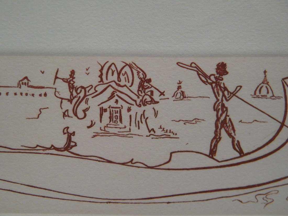 """Salvador Dali """"Visions of Venice"""" Etching on Buff Paper - 3"""