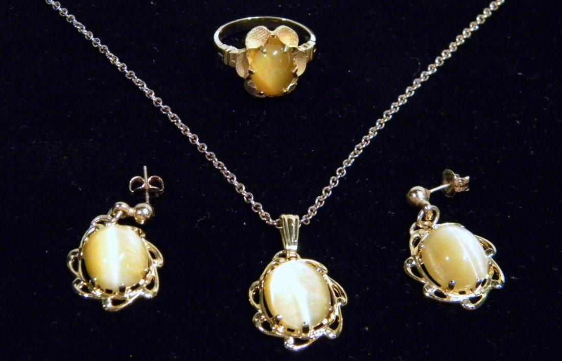 Cat Eye Matching Necklace, Ring, Earring Set