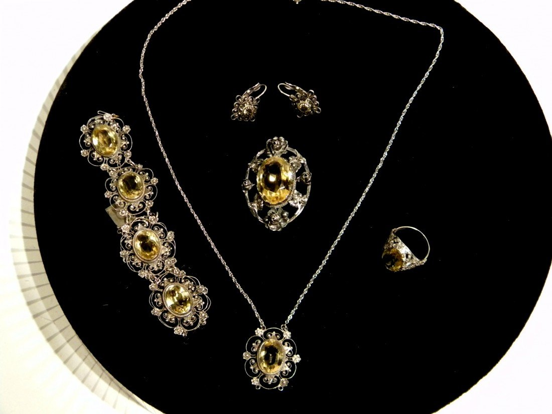 Matching Set of Citrine Colored Stone Jewelry