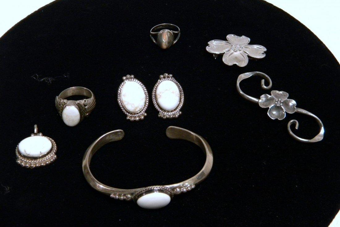 Matching Set of White Stone  & Sterling Jewelry