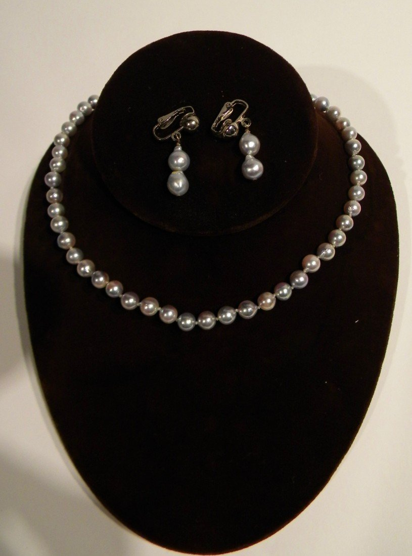 Iridescent Silver Cultured Pearl Necklace