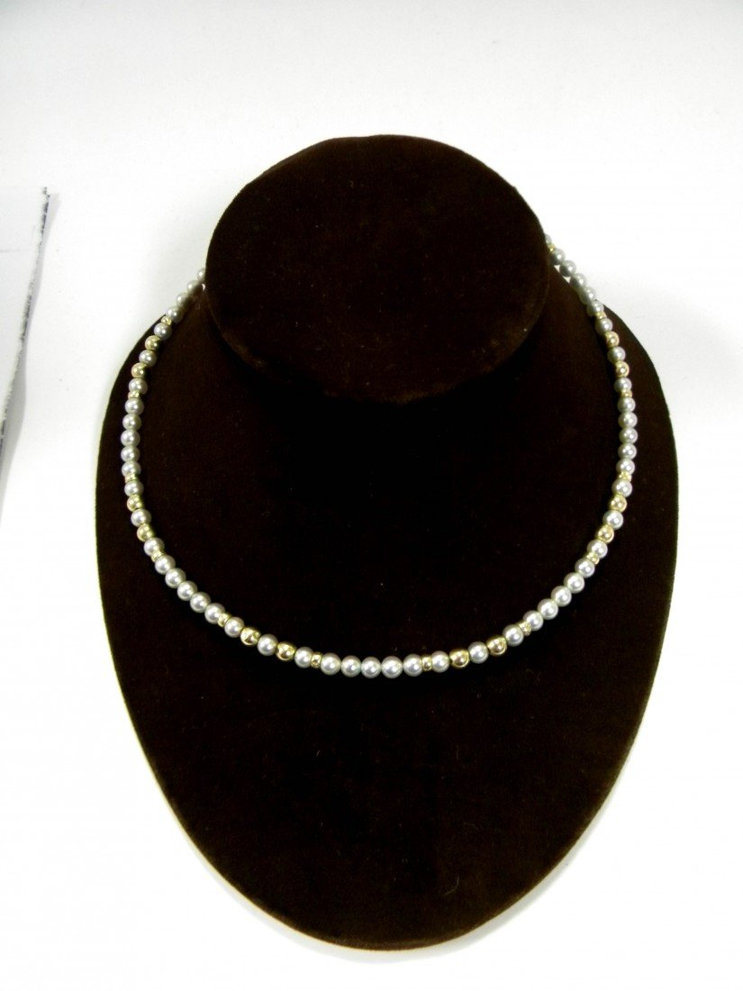 """Ladies 14K Yellow Gold 24"""" Pearl & Bead Necklace"""