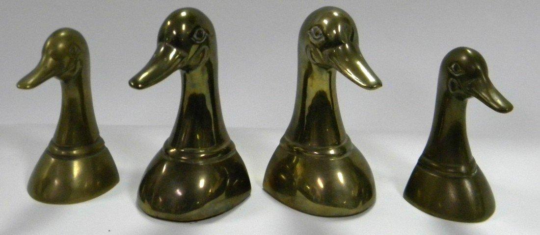 4 Figural Brass Geese Heads