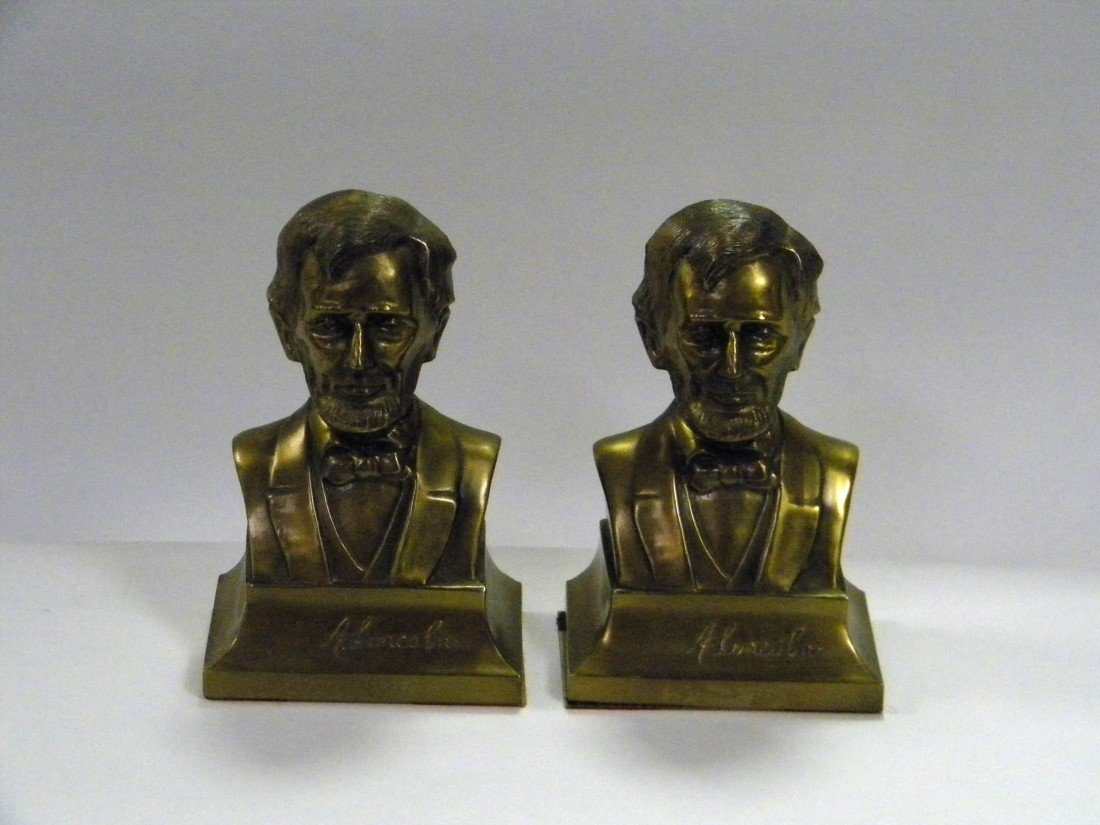 Pr of Brass Plated Bust of Abraham Lincoln