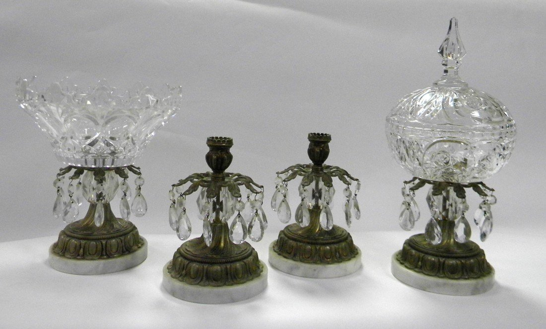 4 Brass & Crystal Items: Candy Dish, etc