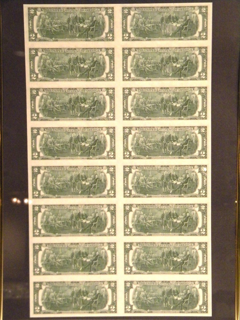 2 Framed uncut U.S. currency sheets - 2