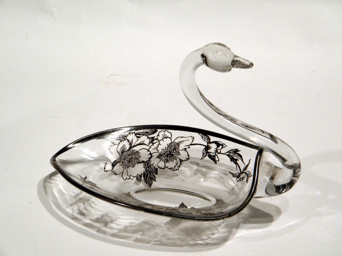 Clear Glass Figural Swan Dish w/Silver Overlay