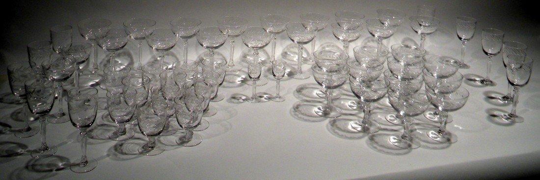 "43 Pc Fostoria Stemware ""Holly"" Pattern -Wine, Champagn"