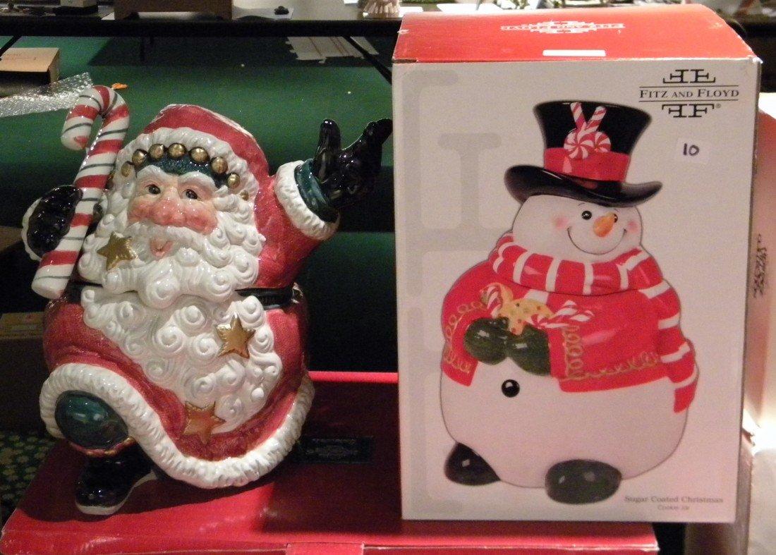 2 Fitz & Floyd Chirstmas Cookie Jars