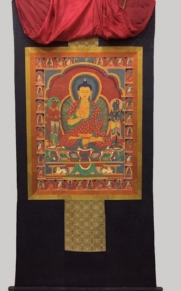 A THANGKA OF SAKYAMUNI , QING DYNASTY