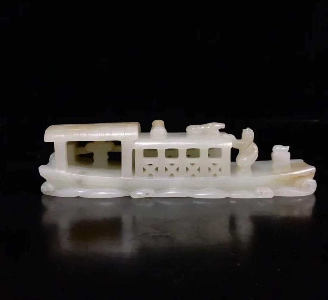 A CARVED WHITE JADE BOAT , QING DYNASTY
