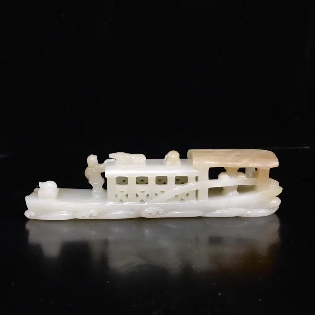 A CARVED WHITE JADE BOAT , QING DYNASTY - 3
