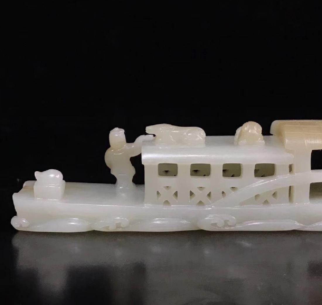 A CARVED WHITE JADE BOAT , QING DYNASTY - 5