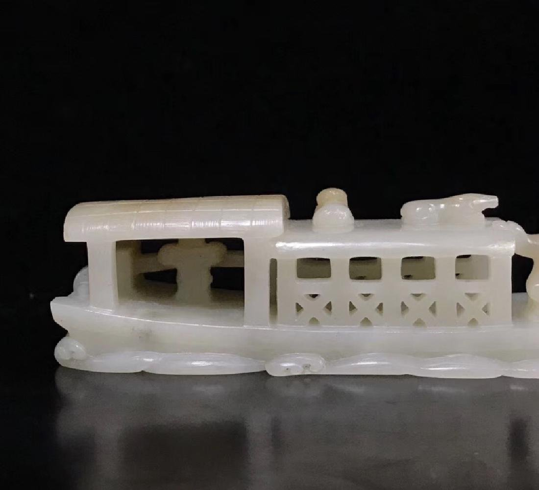 A CARVED WHITE JADE BOAT , QING DYNASTY - 6