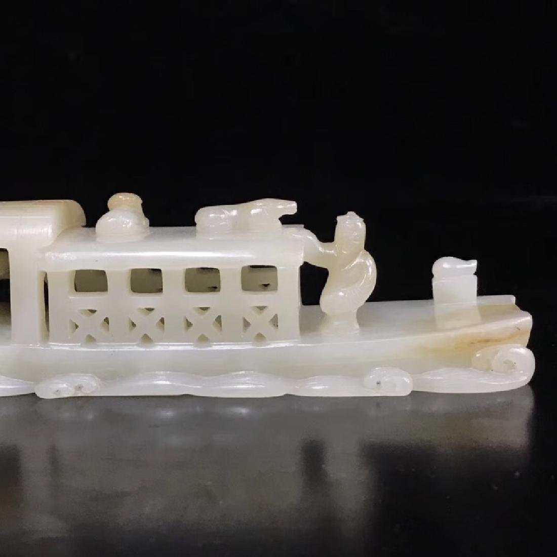 A CARVED WHITE JADE BOAT , QING DYNASTY - 7