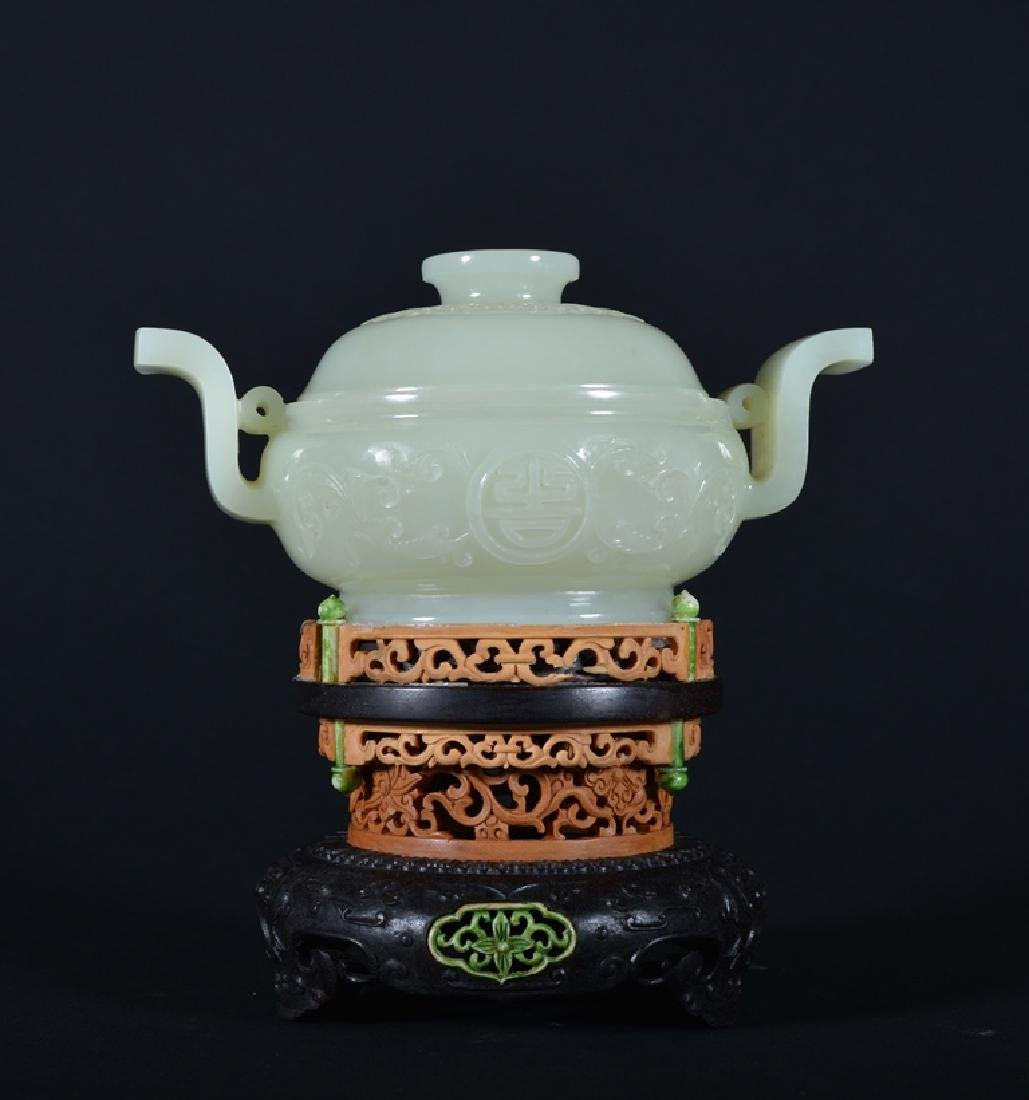 A CARVED WHITE JADE CENSER AND COVER. , QING DYNASTY