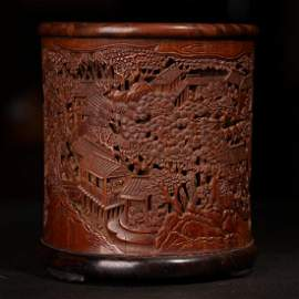 A FINE CARVED BAMBOO 'FIGURE AND LANDSCAPE'