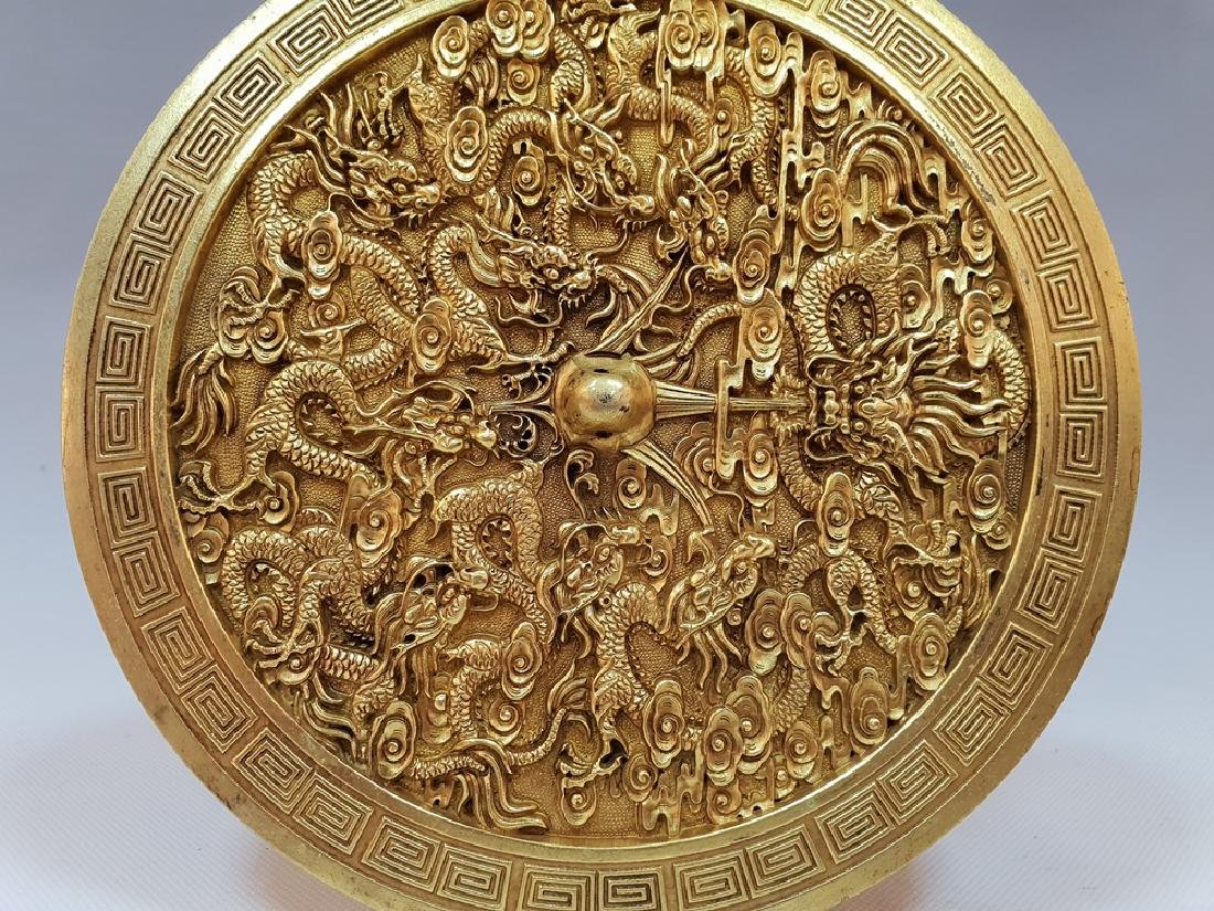 A CARVED GILT-GOLD DRAGON BOX AND COVER ,TANG PERIOD - 3