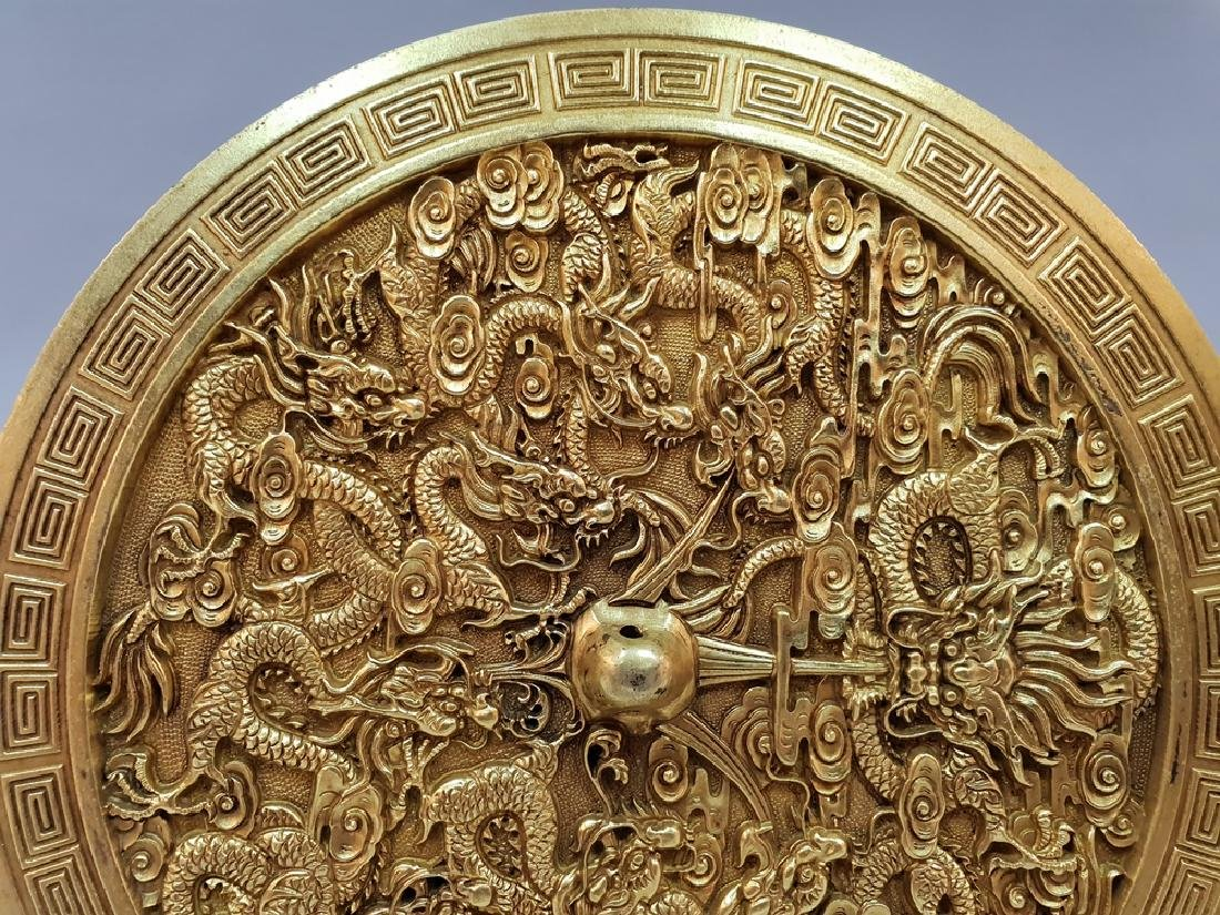A CARVED GILT-GOLD DRAGON BOX AND COVER ,TANG PERIOD - 4