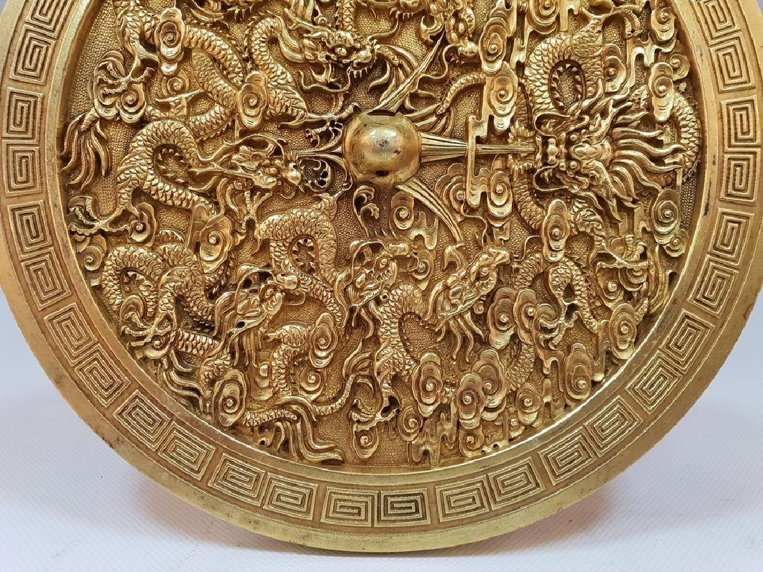 A CARVED GILT-GOLD DRAGON BOX AND COVER ,TANG PERIOD - 5