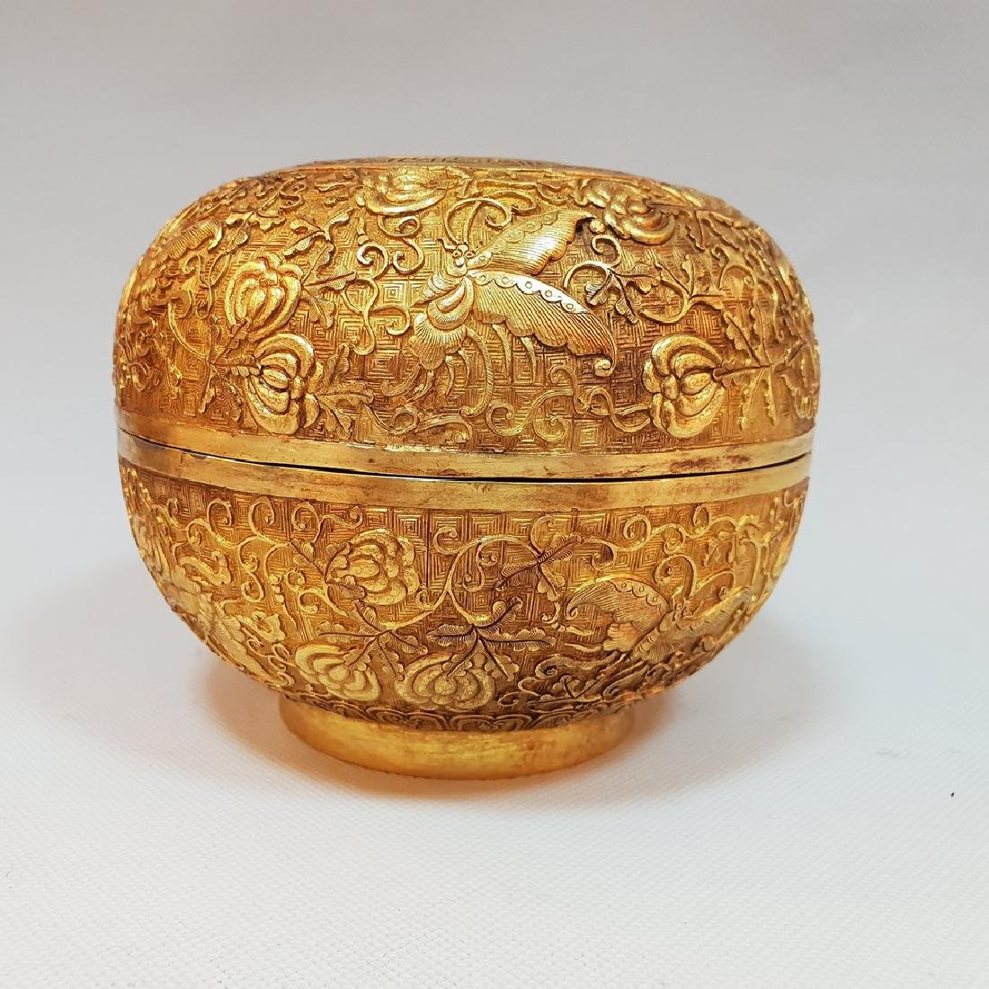 A CARVED GILT-GOLD BOX AND COVER ,MING DYNASTY - 2