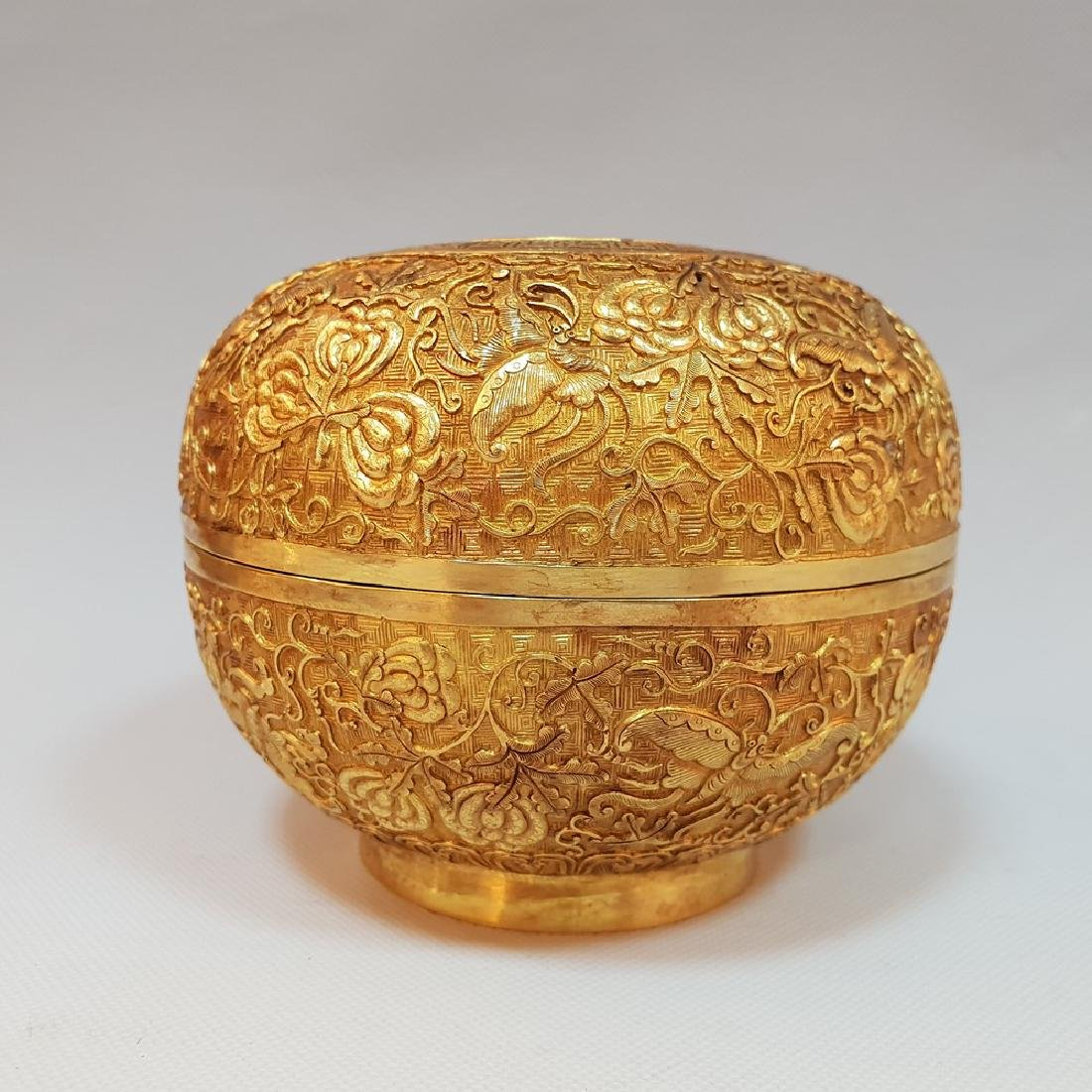 A CARVED GILT-GOLD BOX AND COVER ,MING DYNASTY - 3