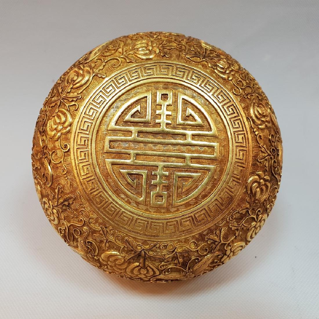 A CARVED GILT-GOLD BOX AND COVER ,MING DYNASTY - 5